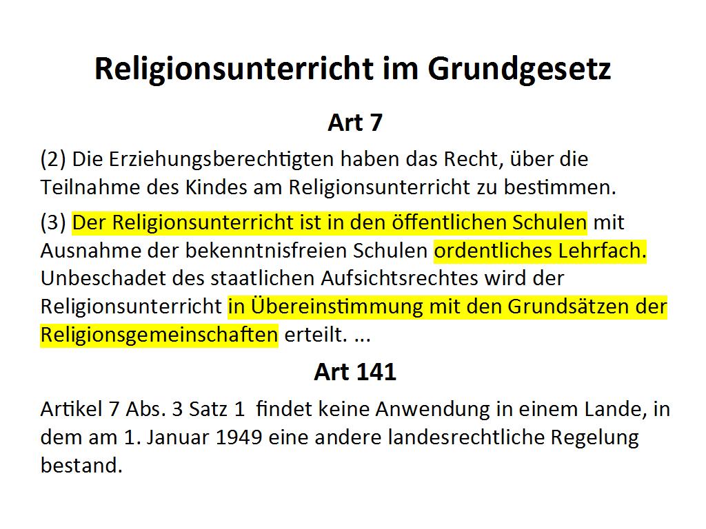 Grundgesetz Religionsunterricht